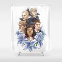 cycle Shower Curtains featuring Raven Cycle by laya rose
