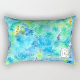 Rain Makes A Rainbow no.0 - watercolor illustration green blue Rectangular Pillow