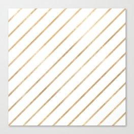 Geometrical blush chic white faux rose gold stripes Canvas Print