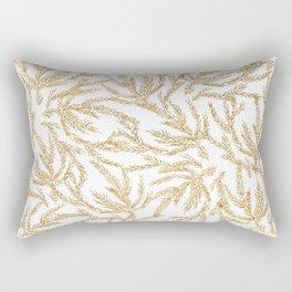 Gold Coral Ferns Rectangular Pillow
