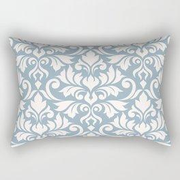 Flourish Damask Big Ptn Cream on Blue Rectangular Pillow