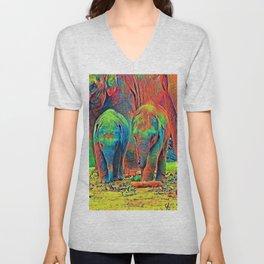 AnimalColor_Elephant_001_by_JAMColors Unisex V-Neck