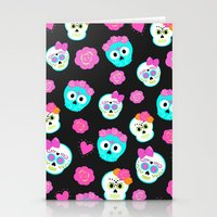 sugar skulls Stationery Cards featuring Sugar skulls by Eviedoll