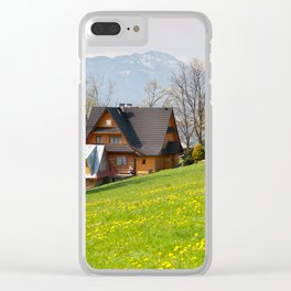 Bucolic spring meadow and house Clear iPhone Case