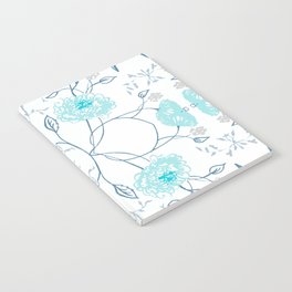 Shade of blue floral pattern Notebook