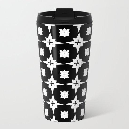 Linocut scandinavian minimal printmaking pattern blockprint black and white Metal Travel Mug