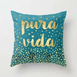 Pura Vida Gold on Teal Throw Pillow