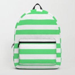 Algae Green and White Horizontal Beach Hut Stripes Backpack