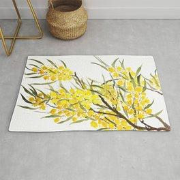 Godlen wattle flower watercolor Rug