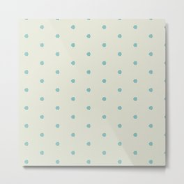 Cream Blue Mini Pattern Metal Print