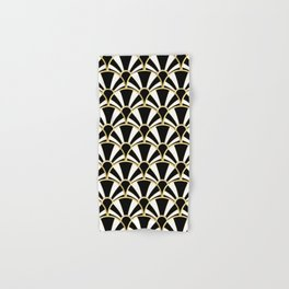 Black, White and Gold Classic Art Deco Fan Pattern Hand & Bath Towel