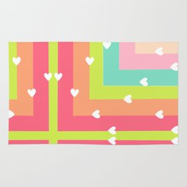 Spring Pastel Squares with Little White Hearts Pop Art Rug