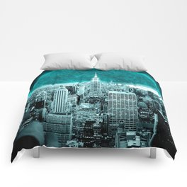 New New York Another World Aqua Teal Comforters