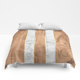 Wood Grain Stripes White Marble #497 Comforters