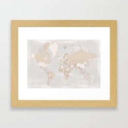 "Rustic world map in grey and brown ""Lucille"" Framed Art Print"
