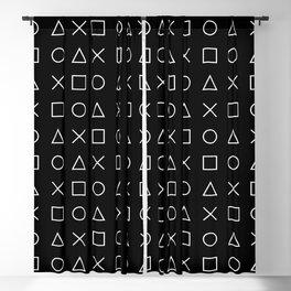 gamer pattern black and white  - gaming design black Blackout Curtain