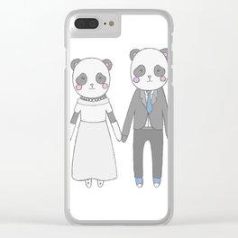 Wedding pandas, white background Clear iPhone Case