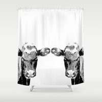 cows Shower Curtains featuring Black Cows by BACK to THE ROOTS