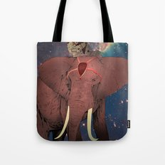 astronaut and elephant Tote Bag
