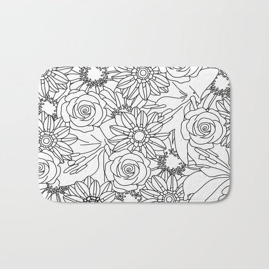 FLOWERS OF SUMMER B/W COLOUR IN Bath Mat