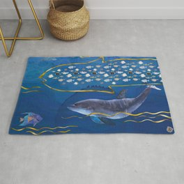 Dolphins Hunting Fish - Surreal Seascape Rug