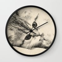 kitten Wall Clocks featuring Kitten by Augustinet