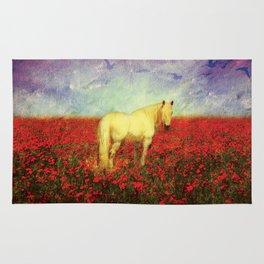 Horse in Flowers Rug