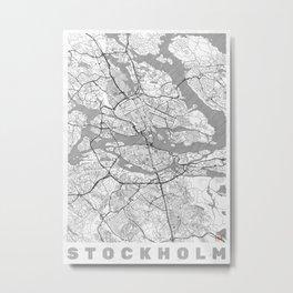 Stockholm Map Line Metal Print