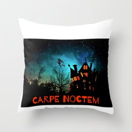 Halloween Fun Carpe Noctem Sieze the Night Haunted House Witch Throw Pillow