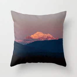 Sunset on Mount Baker Throw Pillow