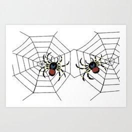 two big Spider Halloween web Art Print