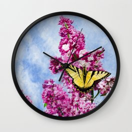 Lilac and The Swallowtail by Teresa Thompson Wall Clock