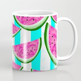 Watermelon Crush on Aqua and White Stripes Coffee Mug