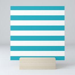 Scuba blue stripes Mini Art Print