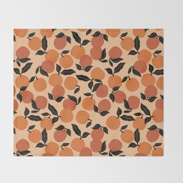 Seamless Citrus Pattern / Oranges Throw Blanket