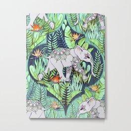Little Elephant on a Jungle Adventure - faded vintage version Metal Print