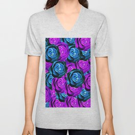 blooming rose texture pattern abstract background in purple and blue Unisex V-Neck