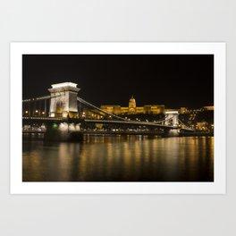Budapest Chain Bridge And Castle Art Print