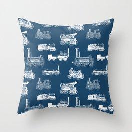 Antique Steam Engines // Navy Blue Throw Pillow