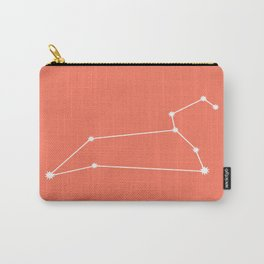 Leo Zodiac Constellation - Coral Red Carry-All Pouch