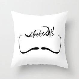 Salvador Dali Mustache with Signature Artwork Throw Pillow