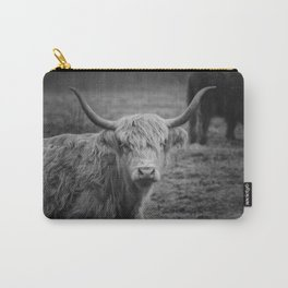Highland Cow Black and White Photo Carry-All Pouch