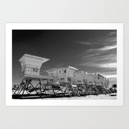 BEACH - California Beach Towers - Monochrome Art Print