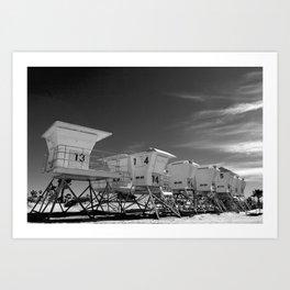BEACH - California Beach Towers - Monochrome Art Print