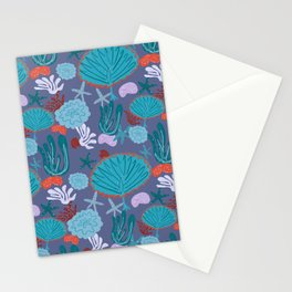 Cute Vibrant Coral Cluster Pattern in Blues II Stationery Cards