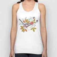 50s Tank Tops featuring Bird and Butterfly  by Anna Deegan