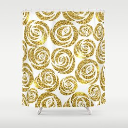 Gold Sparkle Glitter Roses Shower Curtain