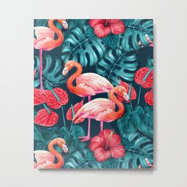 Flamingo birds and tropical garden        watercolor in blue and red Metal Print
