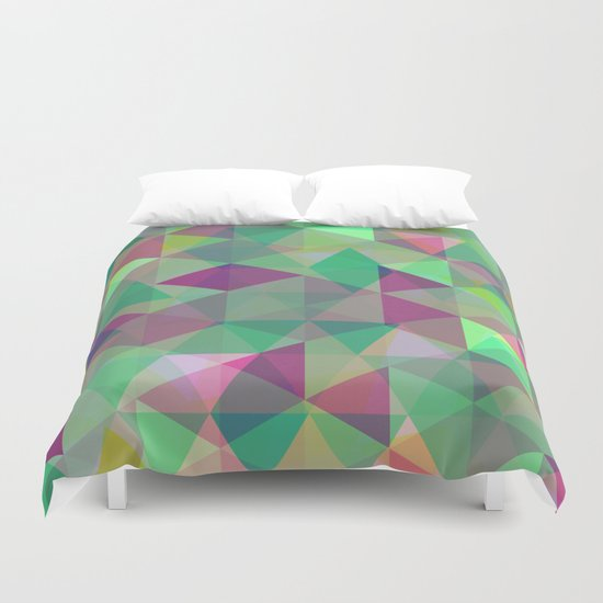 Pastel Triangles Pattern - Abstract, geometric, pastel coloured artwork Duvet Cover