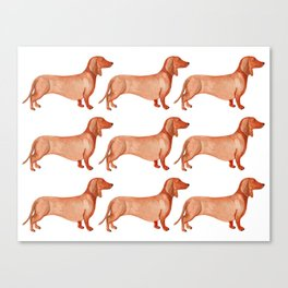 Watercolor Weenie Pattern Canvas Print